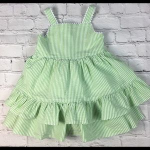 Infant Green/White Seersucker Cotton Dress Sz 24M